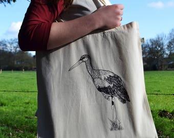 Ooievaar draagtas katoen - boodschappentas met ooievaar print - tote bag - geboorte geschenk kraamcadeau ooievaar - ArtEffectPrints