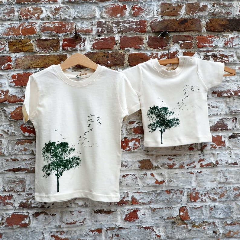 White T-shirt boy with Tree and Birds print  Orgnaic Cotton image 0