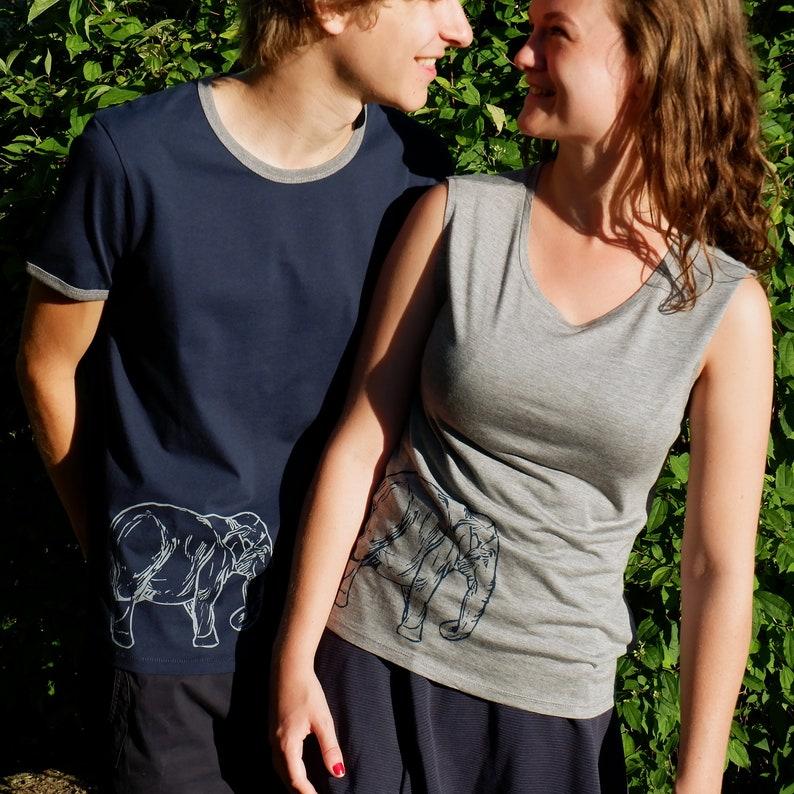 Matching Couple's T-shirt set with Elephant Print  Eco image 0
