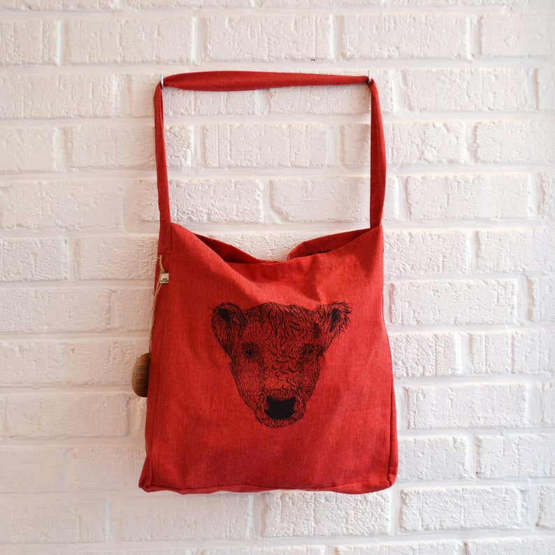 Red tote bag recycled with animal print by Art Effect Prints image 0