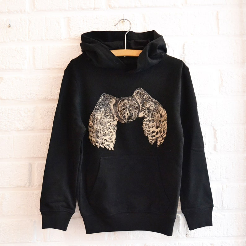Black Hoodie for boy or girl with Owl print  fair and image 0