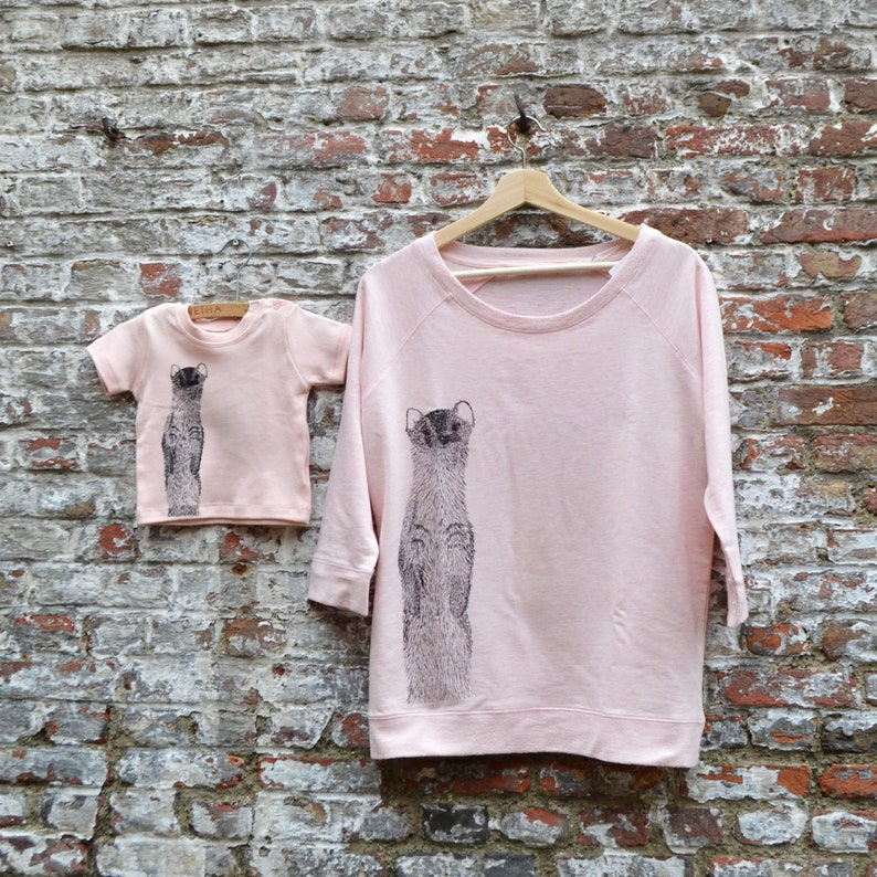 Mom and Baby Girl Matching Outfit  Soft Pastel Pink Sweater image 0