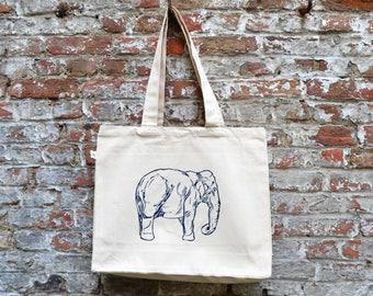 Olifant draagtas katoen - boodschappentas met olifant print - grote tote bag stevige boodschappentas - ecologisch fair trade ArtEffectPrints