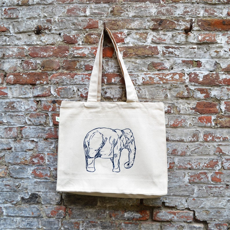 Elephant Tote bag  Natural White Cotton bag  Ecofriendly image 0