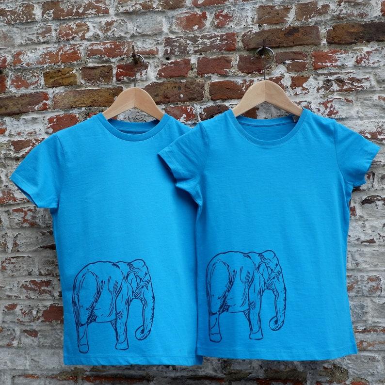 Boy's T-shirt with Elephant Print  Bright Blue Organic image 0