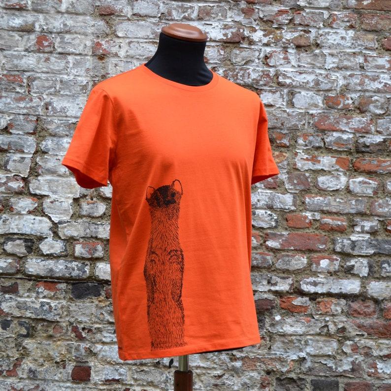 Men's T-shirt with weasel print  organic cotton orange image 0