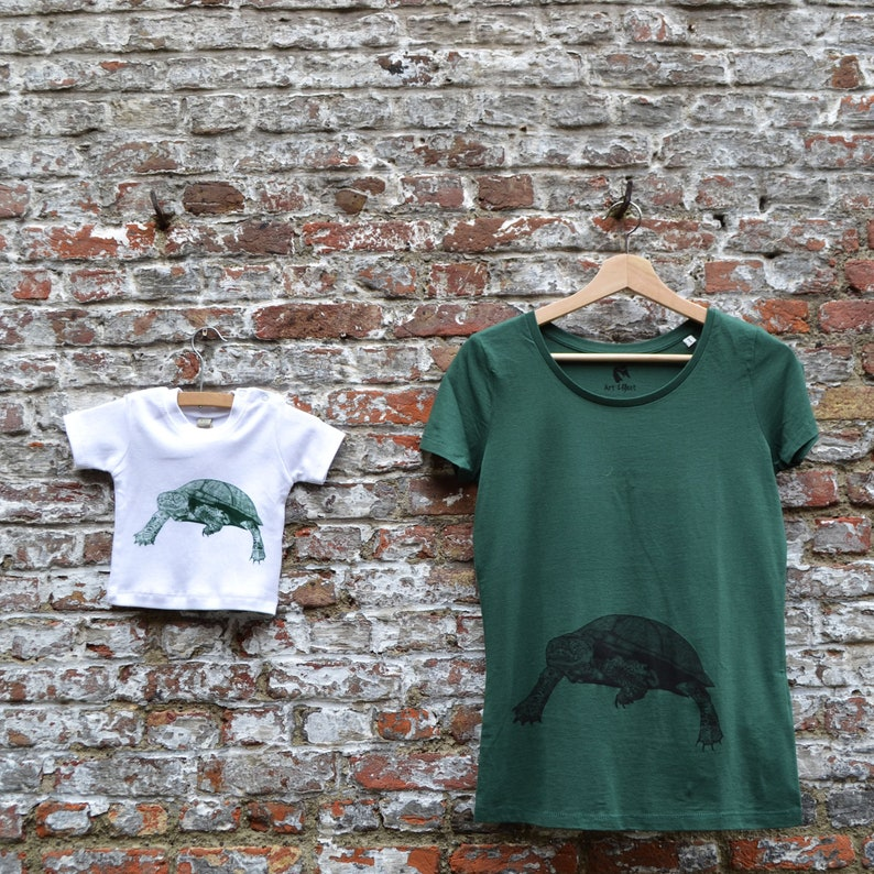 Mom and Baby T-shirt Set with Turtle print  Mothersday gift image 0