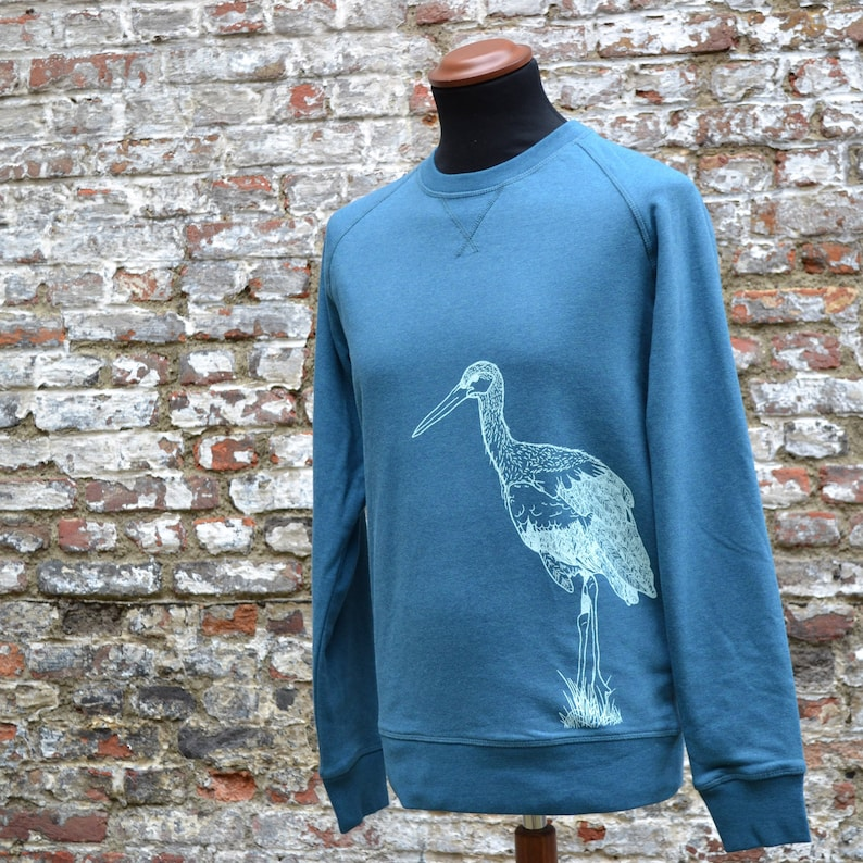Mens' Ocean Blue Sweater with stork print  ecofriendly image 0