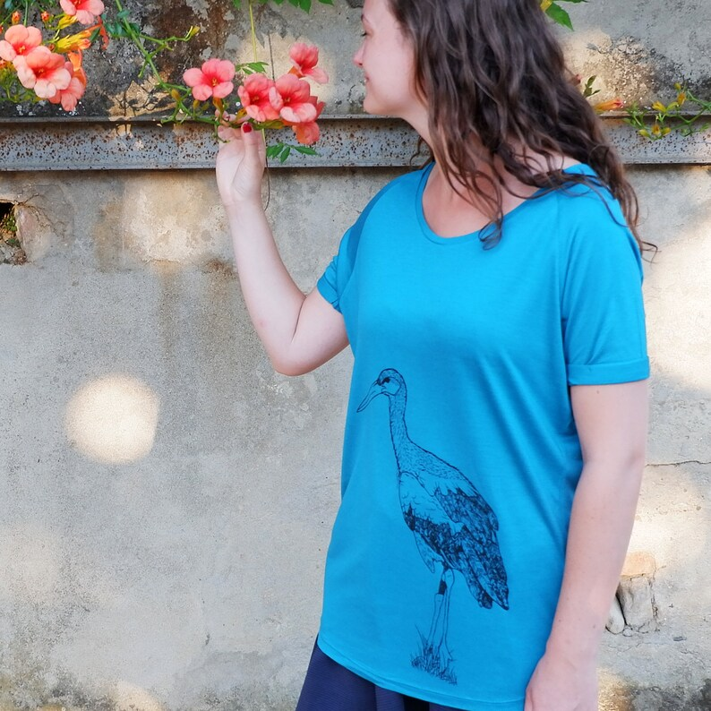 Woman T-shirt Stork  Blue Green petrol Eco Friendly T shirt image 0