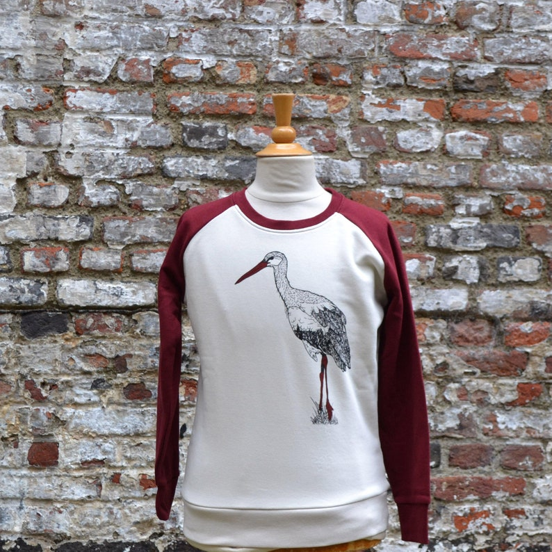 Burgundy red and white sweater for boys girls unisex with image 0