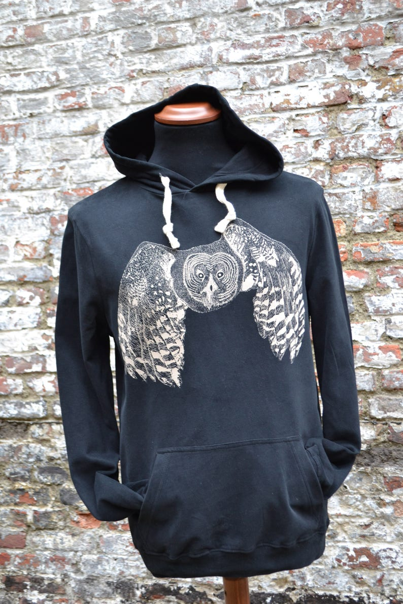 Black hoodie with owl print  organic cotton  Fair and image 0