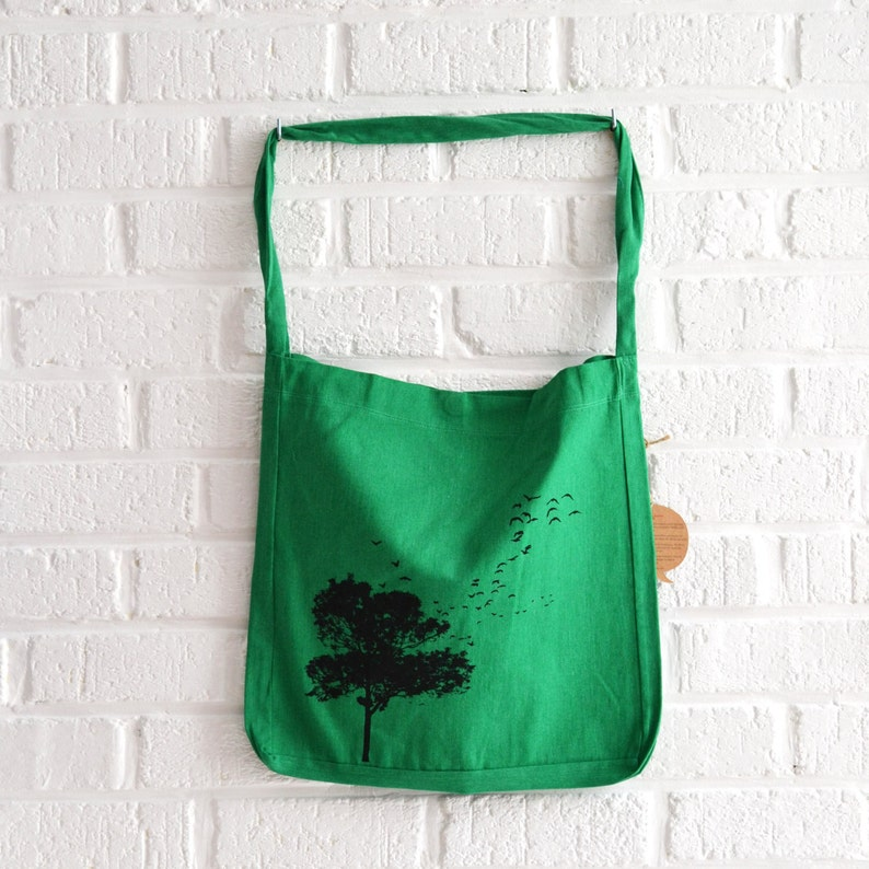 Green tote bag recycled tote bag with tree and birds print by image 0