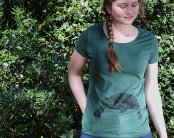 Groen T-shirt   vrouw   schildpad print   dierenprint   Eco & Fair Trade   ArtEffectPrints   schildpad t-shirt   ecologische kledij vrouw