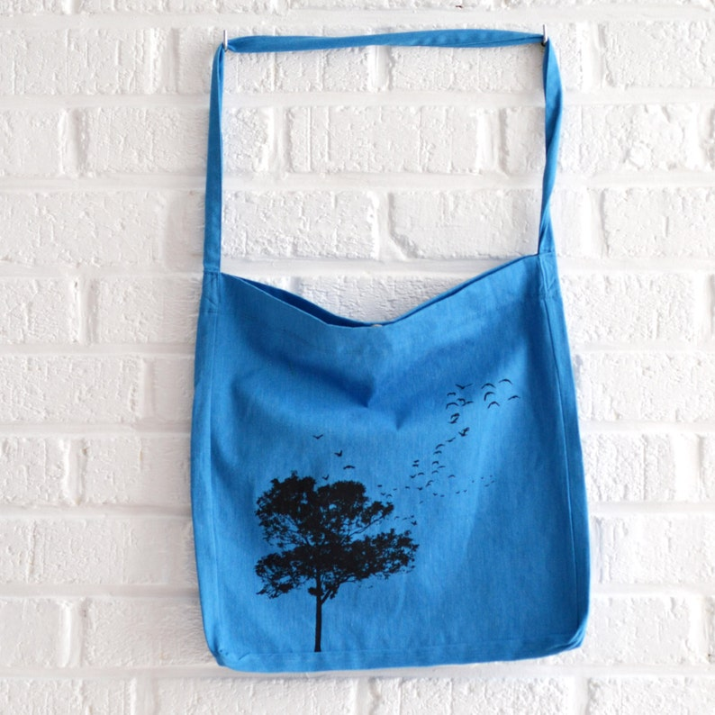 Blue tote bag recycled tote bag with tree and birds print by image 0
