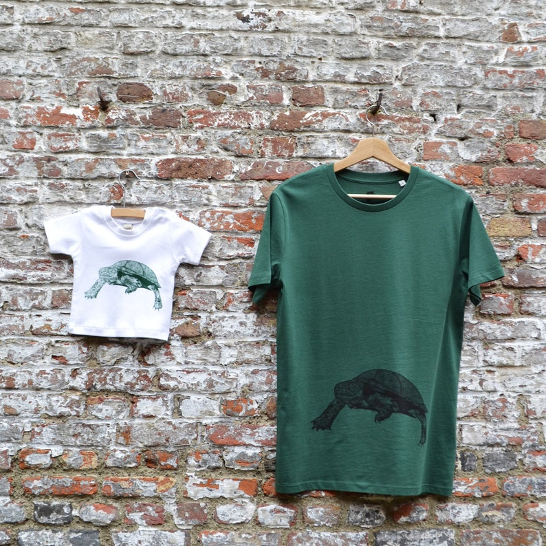 Daddy and Baby T-shirt Set with Turtle print  Fathersday gift image 0