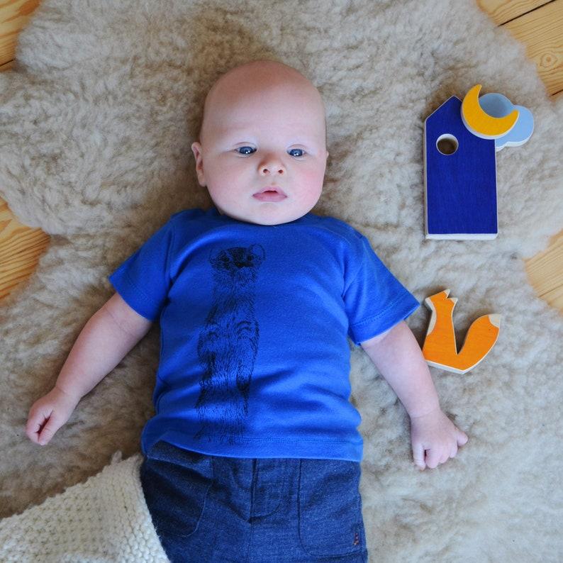 Blue Baby T-shirt  Weasel Print  Animal Print  Eco & Fair image 0