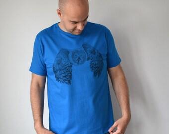 T-shirt voor man met uil illustratie - ronde hals medium fitted eco bio katoen licht blauwe Tshirt in de maten S M L XL - ArtEffectPrints