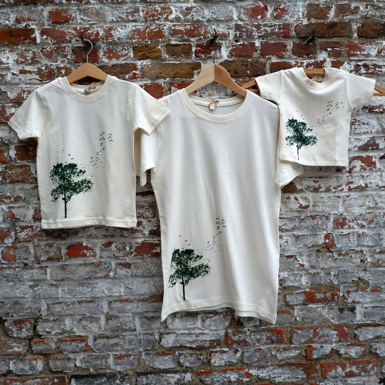 BrothersMatching Outfit  Organic Cotton T-shirt set with tree image 0