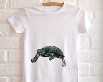 Wit T-shirt voor Jongens met Schildpad print , Dieren Print t-shirt jongen , Eco & Fair Trade kledij kind , Schildpad totem, ArtEffectPrints