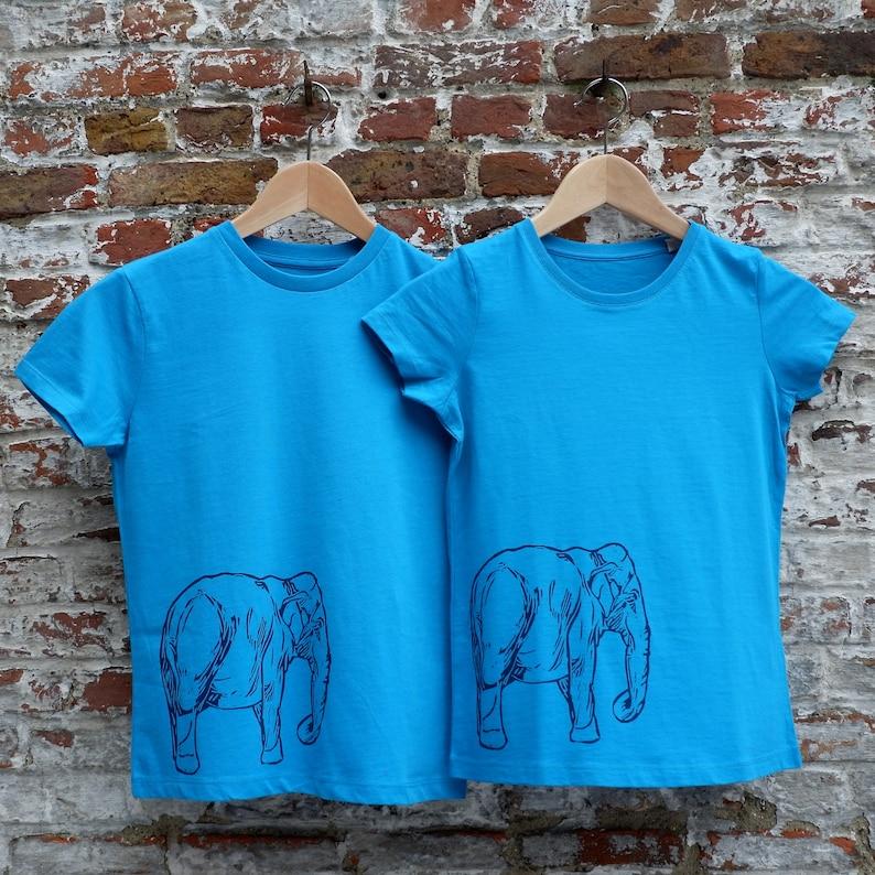 Bright Blue Girls T-shirt with Elephant Print  Animal Print image 0