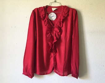 Vintage Blouse - Ruffle Top V Neck Button Up Top Long Sleeve India Shirt