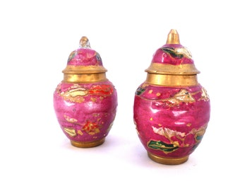 Vintage Set of Two Cloisonne Containers/ Pink Enamel Brass Lidded jars