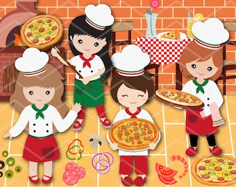 Instant Download Pizza Party Clip Art Pizza Girl Clipart Little Chef Clip art Little Girl Pizza Party Clipart Girls Pizza Party Clipart 0172