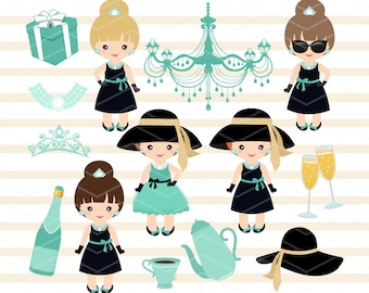 Instant Download Breakfast at Tiffany's Digital Clipart, Tiffany Girls Digital Clip Art, Chic Girl Clipart Tiffany Party Girls Clip Art 0266
