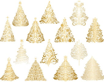 gold christmas tree clipart gold flourish swirls christmas tree clipart hand drawn christmas tree instant download christmas tree 0418