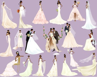 instant download african american bride groom clip art wedding clipart bride clipart wedding invitation bridal shower scrapbook wedding 0354