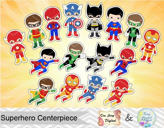 16 Printable Superhero Boys Centerpieces Instant Download