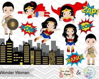 Digital 2017 Wonder Woman Clip Art, Instant Download Wonder Woman Clipart, Superhero Pop Art Text Bubbles Clipart Wonder Woman Clip Art 0148