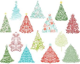 Christmas Tree Digital Clip Art Flourish Swirls Christmas Tree Clipart Hand Drawn Christmas Tree Clip Art - Green Red Blue Orange 0395