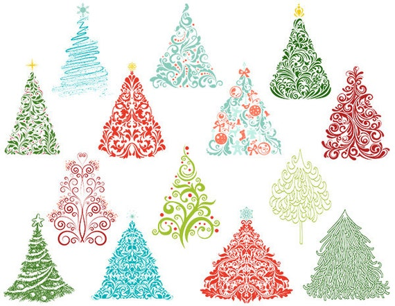 weihnachtsbaum digital clip art polka wirbelt. Black Bedroom Furniture Sets. Home Design Ideas