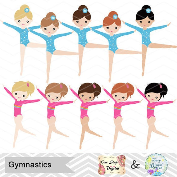 Gimnasia Digital Clipart niñas Digital gimnasia Clip Art   Etsy