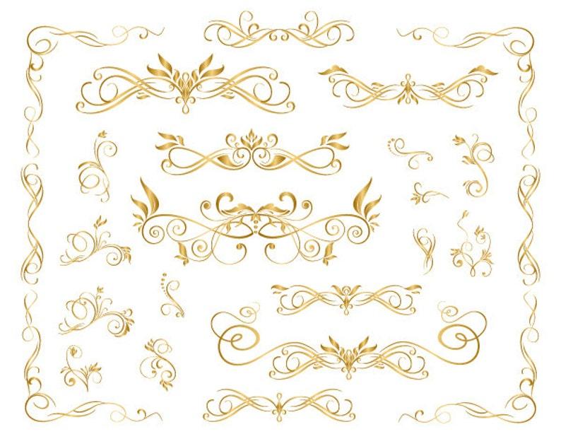 51b286114fd1 GOLD Digital Flourish Swirl Frame Clip Art Gold Frame Clipart