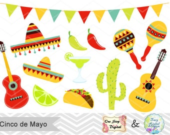 Digital Cinco de Mayo Clipart Digital Mexican Fiesta Clip Art Digital Mexican Party Clipart, Sombrero, cactus, guitar, pinata, taco  0177