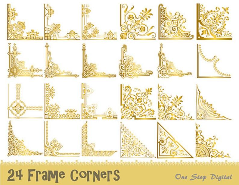 f3740fbc38b4 24 Gold Vintage Frame Corner Digital Clipart Gold Flourish