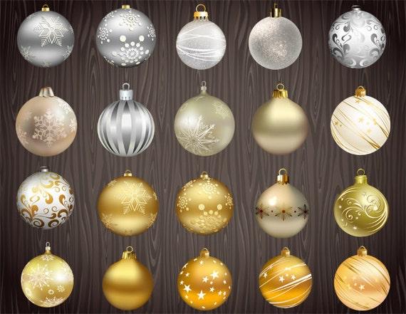 Instand download digital christmas ornaments clip art gold etsy