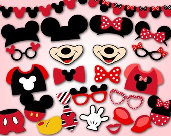 Instant Download Mickey Mouse Photo Booth Props, Digital Red Minnie Photobooth Props, Minnie and Mickey Inspired Photo Booth Props, 0412