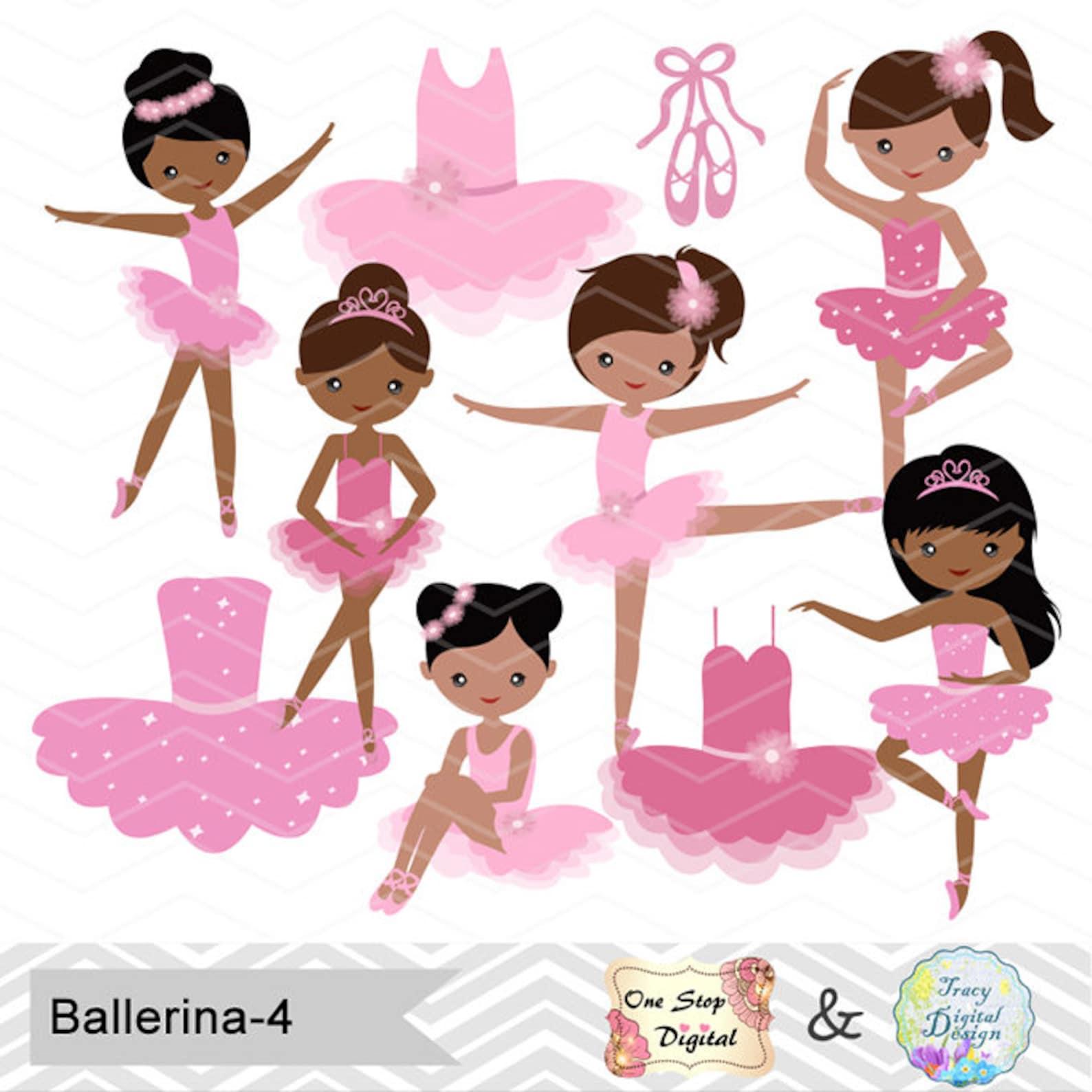 african american ballerina digital clip art, ballet clipart, pink ballet african american girls clip art, pink ballet shoes dres