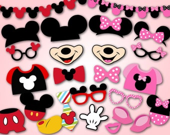 Instant Download Mickey Mouse Photo Booth Props, Digital Pink Minnie Photobooth Props, Minnie and Mickey Inspired Photo Booth Props, 0189