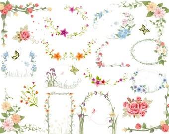Instant Download: Digtal Floral Frames Clip Art Flower Frames Borders Digital Floral ClipArt, wedding invitations, card making, labels 0141
