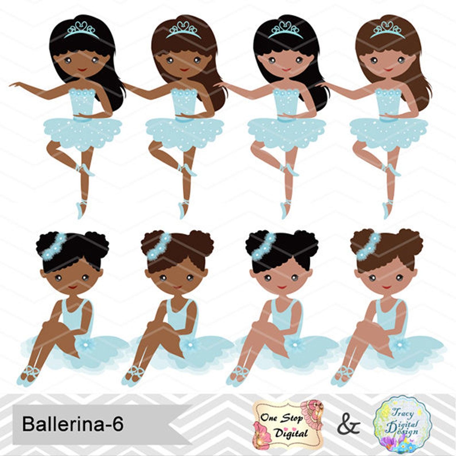 african american ballerina digital clip art, ballet clipart, blue ballet african american girls clip art, blue ballet shoes dres