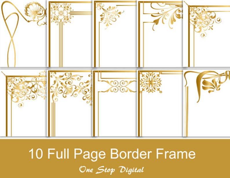 9a891a241815 Gold Digital Full Page Frames Borders Clip art Border Frame