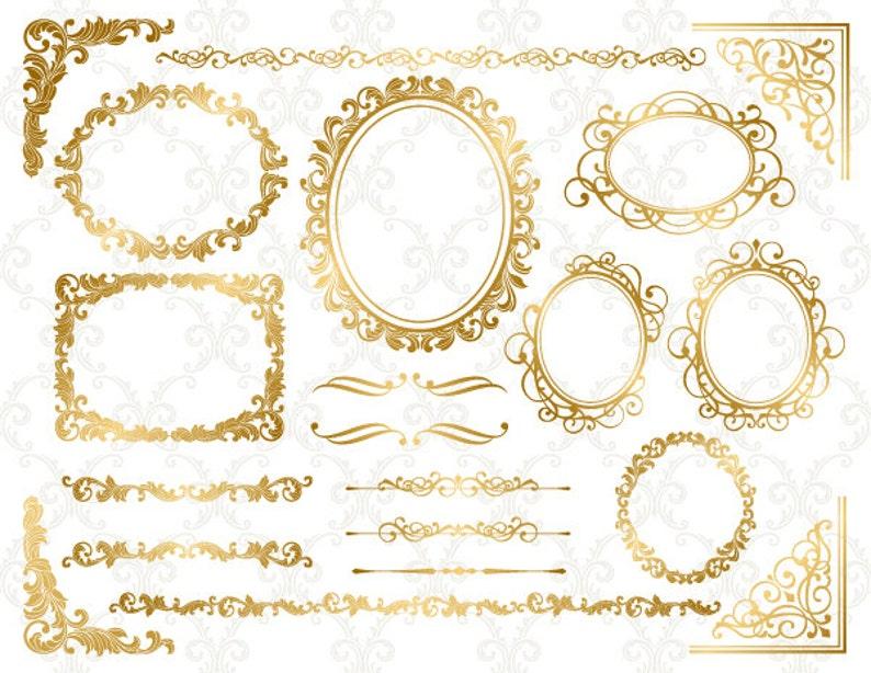 43bf0b43c34f Gold Digital Frame Ornate Clip Art Gold Corner Clipart Digital