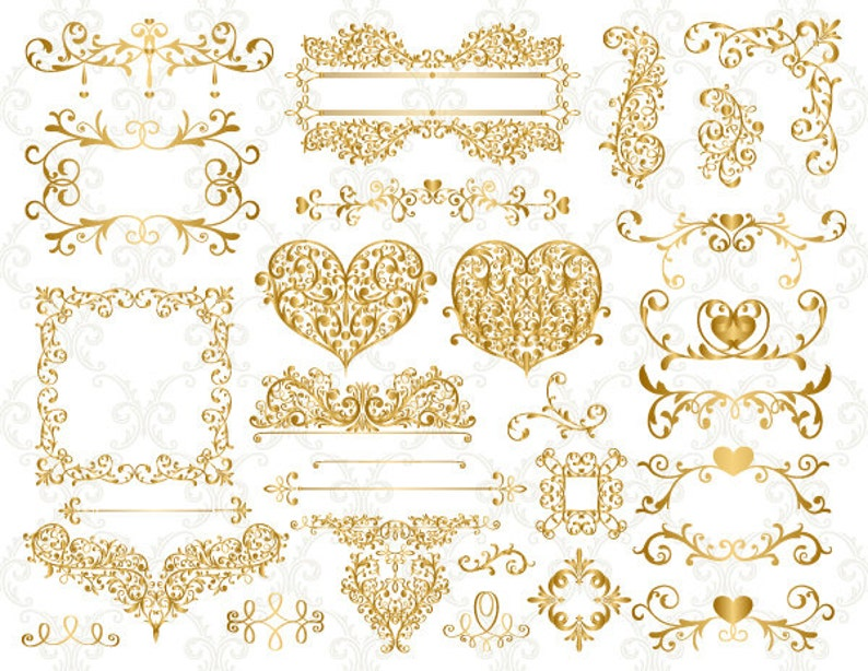 22ac7b22b5b0 Gold Digital Flourish Swirl Border Frame Clip Art Gold Border