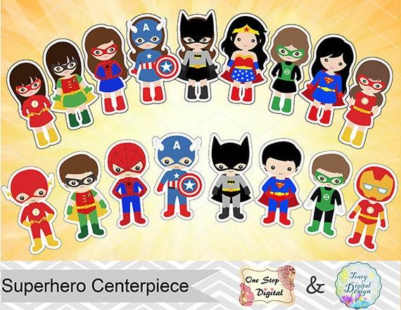 17 Printable Superhero Boys And Girls Centerpiece Instant