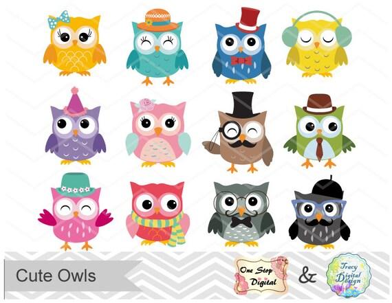 digital owl clip art cute owl clipart digital owl scrapbook etsy rh etsy com cute owl clipart black and white cute baby owl clip art