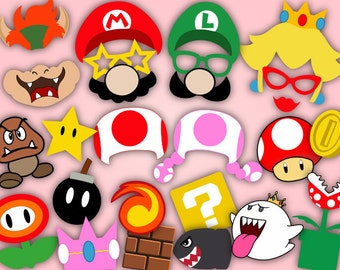 Instant Download Super Mario Photo Booth Props, Super Mario Birthday Party Photo Booth Props, Super Mario Party Photobooth Prop 0054